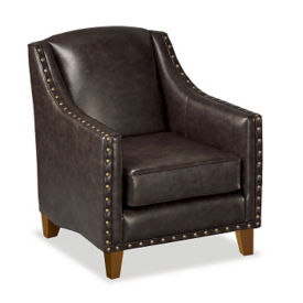 Faux Leather Club Chair with Nail Head Trim, W60826
