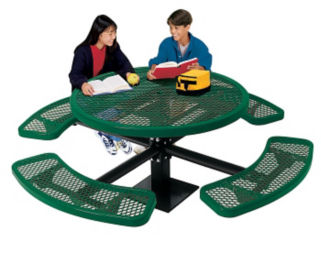 Outdoor Round Table with Surface Mount Leg and Perforated Pattern, T10870