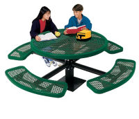 Outdoor Round Table with In Ground Mount and Perforated Pattern, T10871