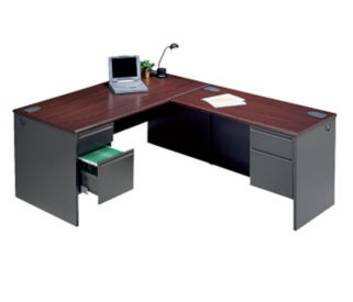 Steel L-Desk with Right Return, D35005