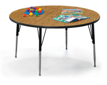 "Round Child Size Adjustable Height Table - 48"", A11156"
