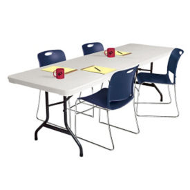 "Blow Molded Polyethylene Folding Table 30"" wide x 60"" long, D41515"