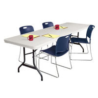 "Blow Molded Polyethylene Folding Table 30"" D x 96"" W, D41517"