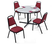 """Set of Round Table and 4 Chairs 42"""" Diameter, T10396"""