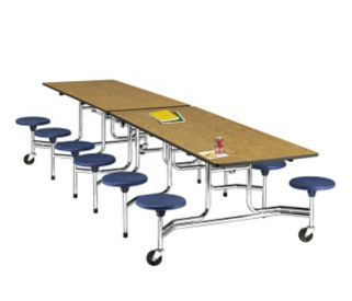 "12' Cafeteria Table with 15""H Stool Seating for 16, K10006"