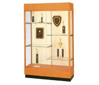 "Oak Trophy Display Case with White Back - 48""W x 70""H, D81040"