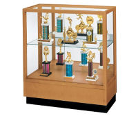 "Oak Trophy Display Case with Mirror Back - 36""W x 40""H, D81038"