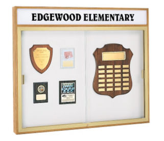 "Trophy Wall Display Case with Header 50"" Wide x 42"" High, D81014"