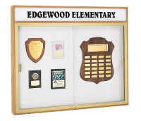 """Trophy Wall Display Case with Header 50"""" Wide x 42"""" High, D81014"""