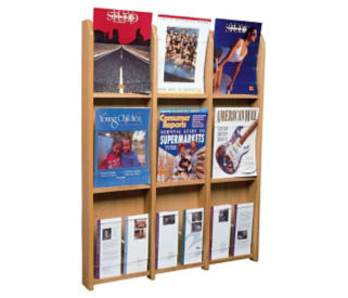 Oak Literature Rack with Acrylic Front 6 Magazine & 6 Brochure Pockets, D33034