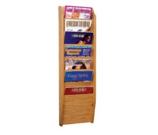 Oak Literature Rack with 7 Magazine Pockets, D33026