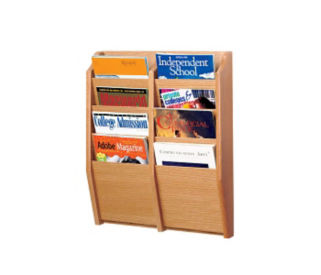 Oak Literature Rack with 8 Magazine Pockets, D33027
