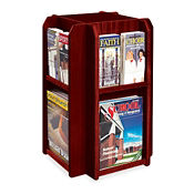 Literature Rack with 8 Magazine and 16 Brochure Pockets, L40294