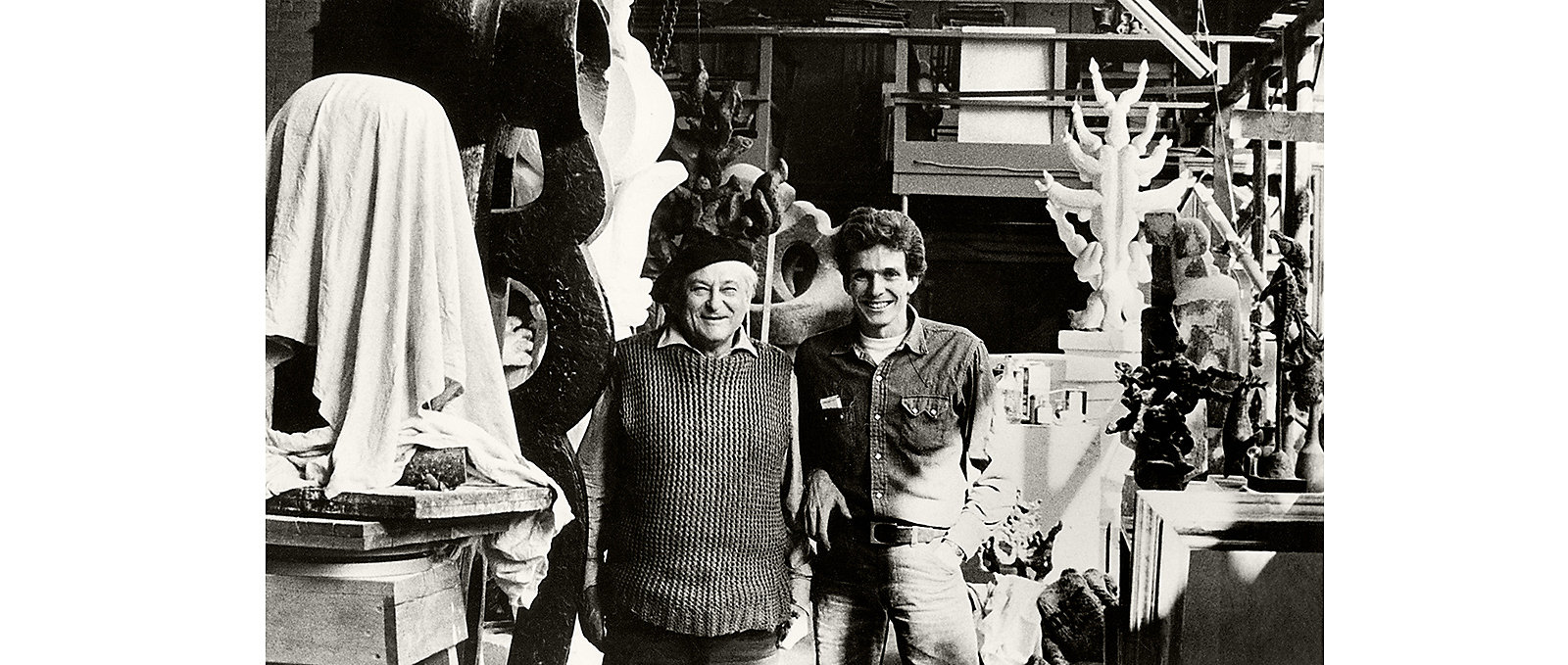 Sculptor Jacques Lipchitz with David Yurman, apprentice, in the artist's studio, Hastings-on-Hudson, New York, 1963