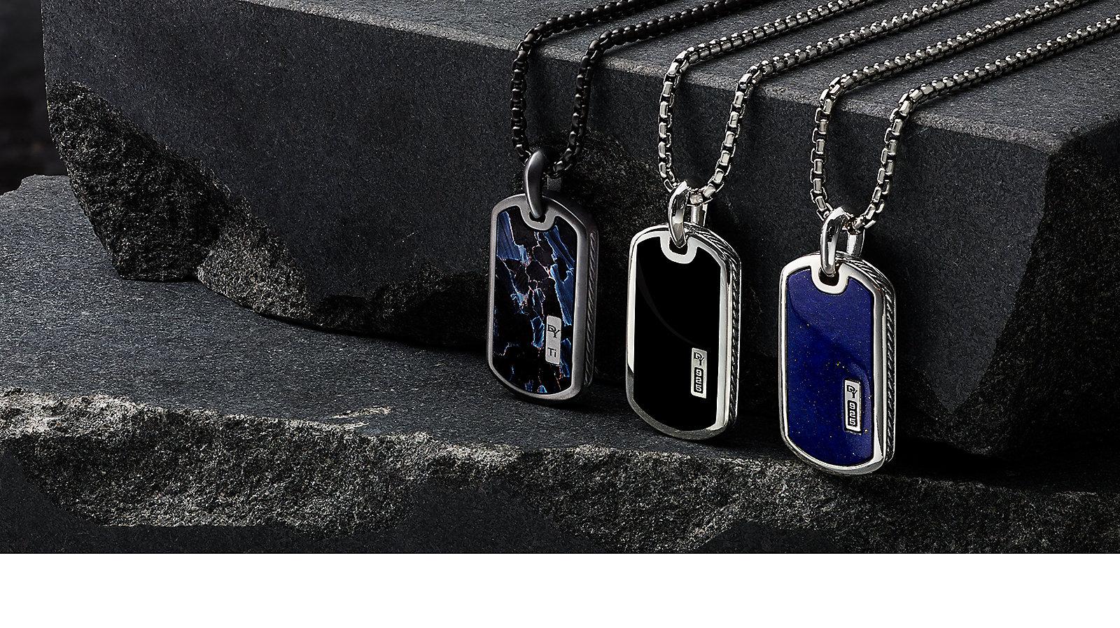 男士925纯银吊牌镶异域奇石、黑玛瑙和天青石。