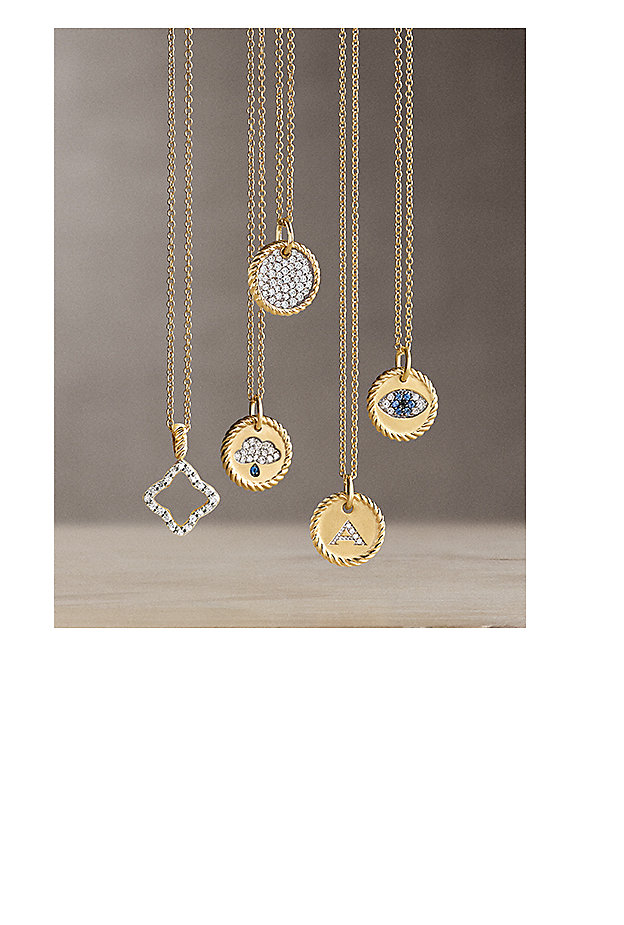 Cable Collectibles® charms in 18K yellow gold, diamonds and sapphires.