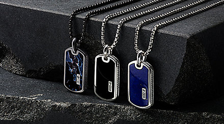 Men's sterling silver tags with exotic stone, black onyx and lapis lazuli.