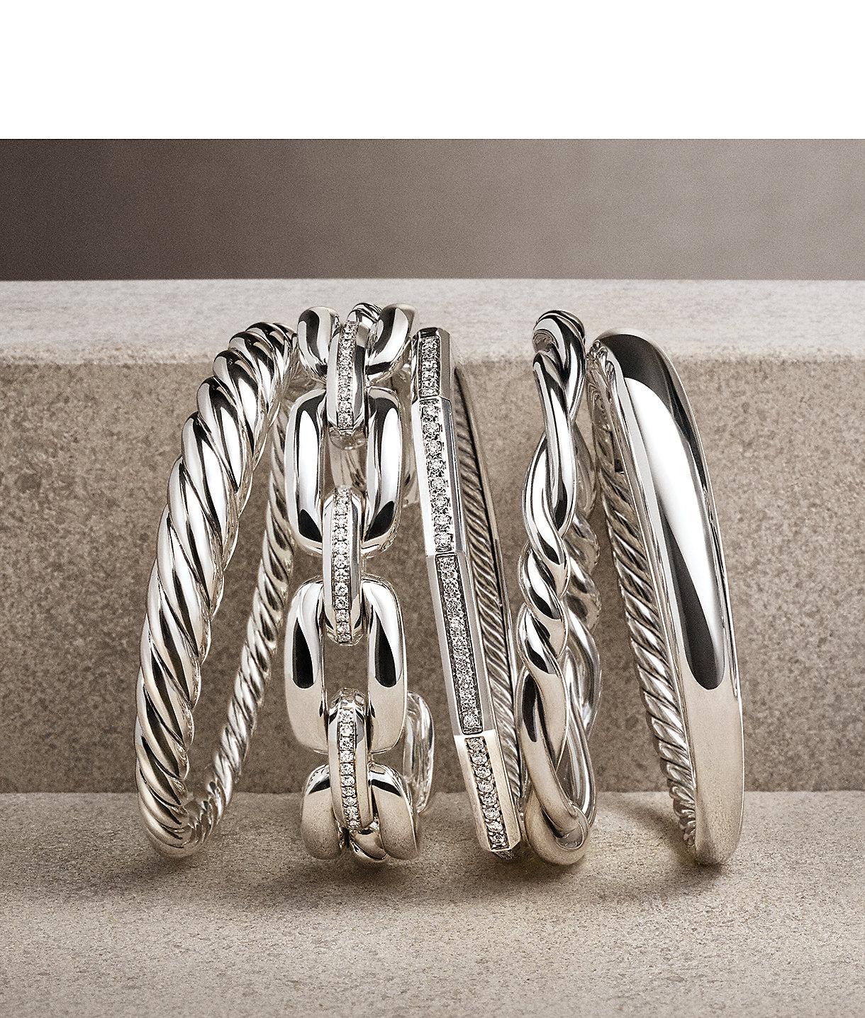 层叠925纯银DY Renaissance、Pure Form、 Stax、Continuance和Wellesley扣环手镯