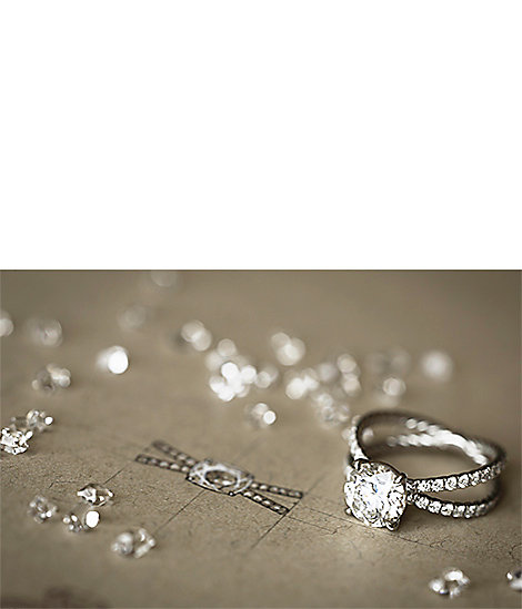 Platinum and diamond engagement ring and diamonds