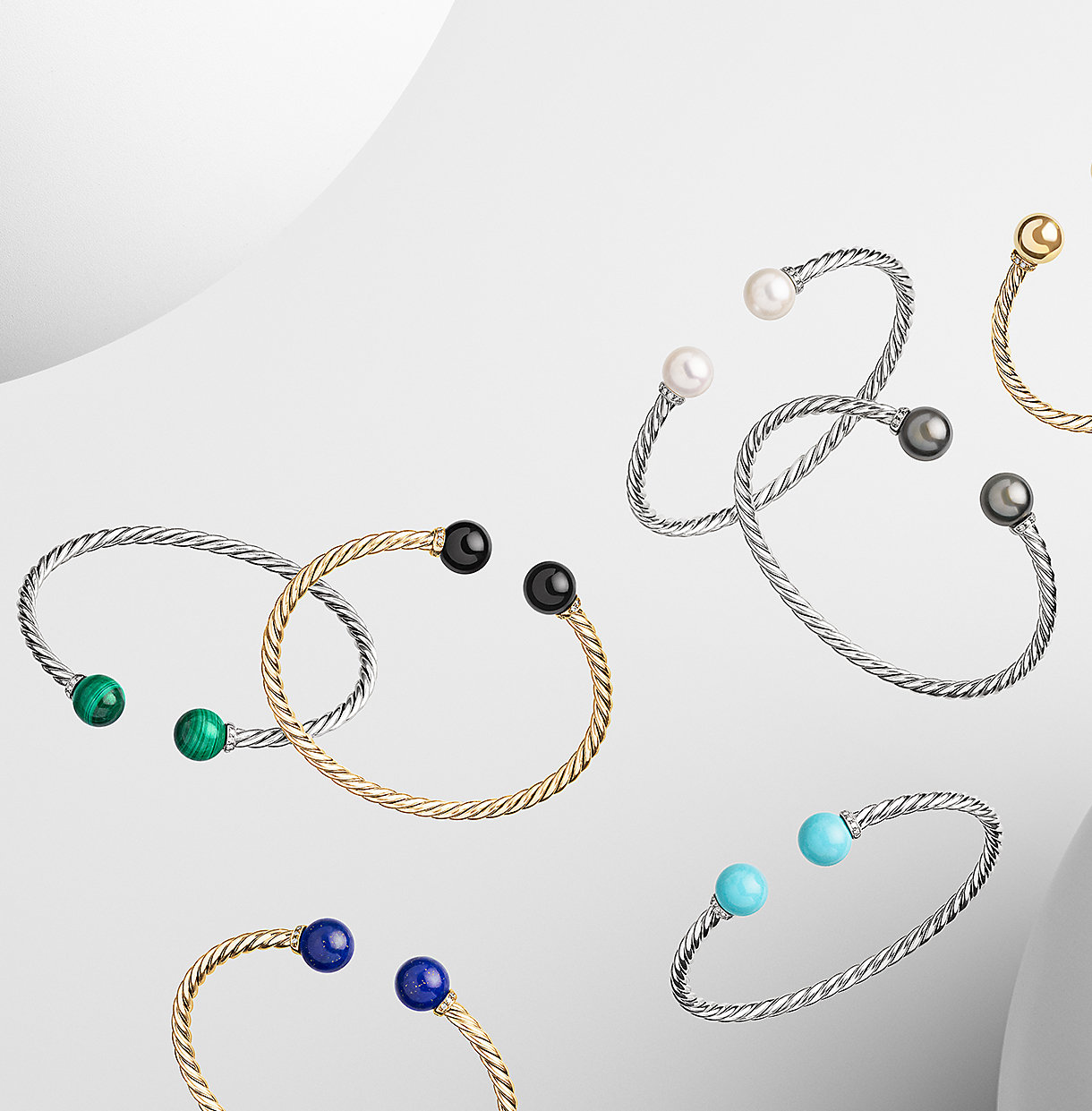 18k gold and sterling silver bracelets with gemstones