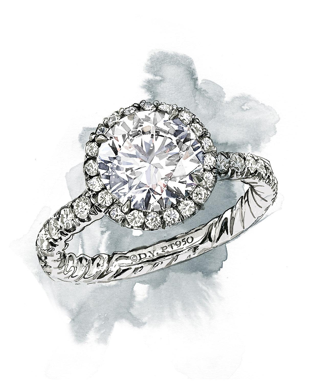 铂金钻石订婚戒指的插图