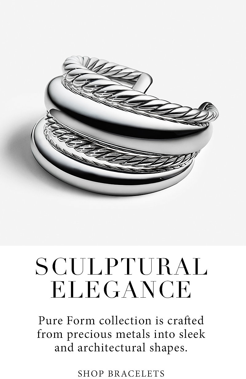 Pure Form collection is crafted from precious metals into sleek and architectural shapes. Shop Bracelets.