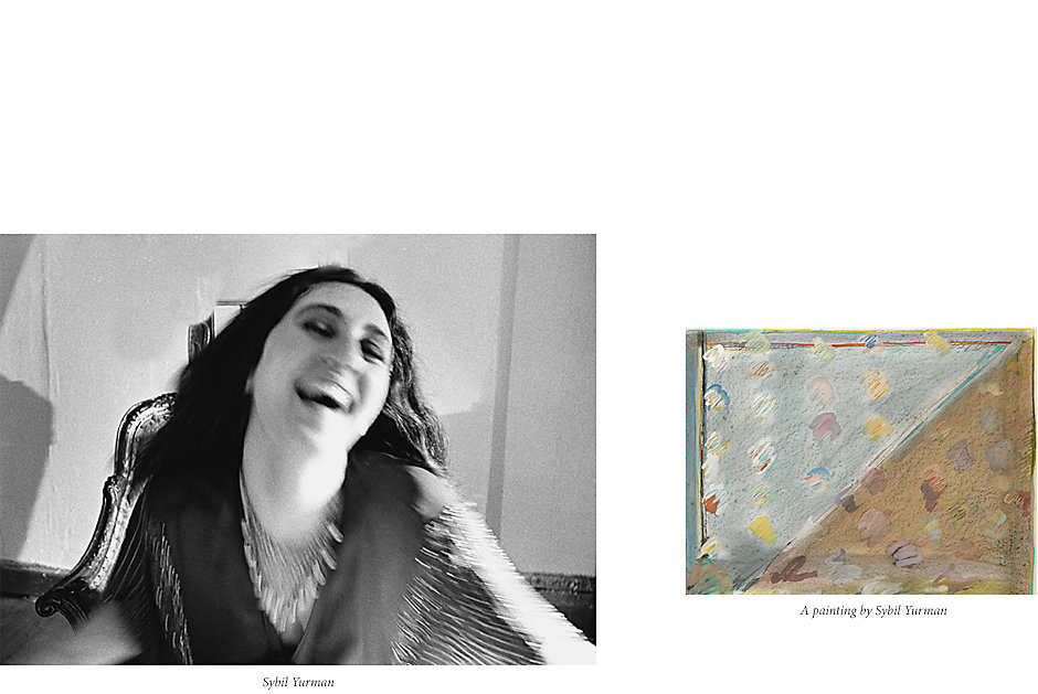 Young Sybil Yurman next to one of her early paintings