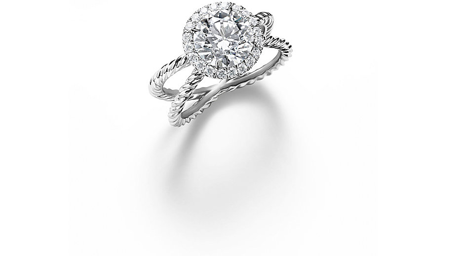 A platinum and diamond engagement ring
