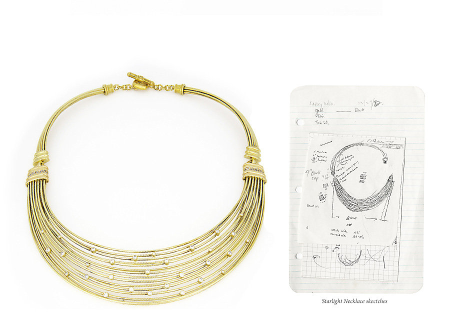 A photo and sketch of a gold Starlight necklace