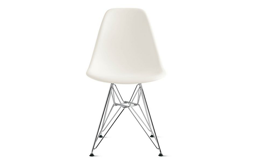 eames molded plastic side chair wire base - herman miller