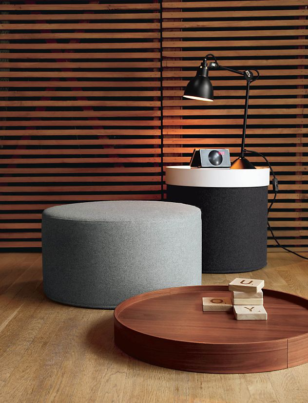 Drum Pouf Tray - High - Design Within Reach