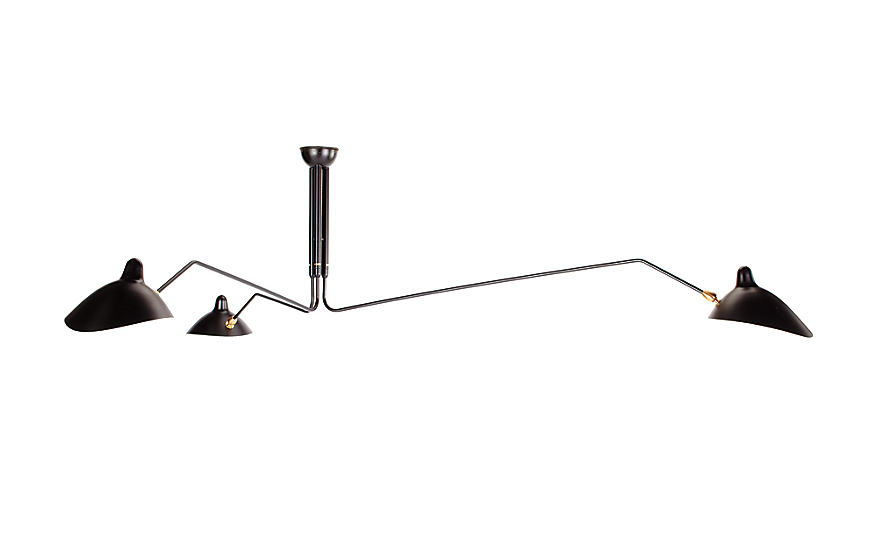 Serge Mouille Three-Arm Ceiling Lamp - Design Within Reach