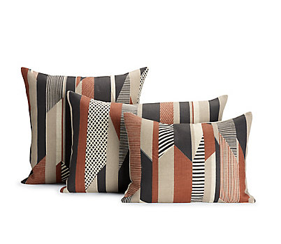 Textured Stripe Pillow, Brown