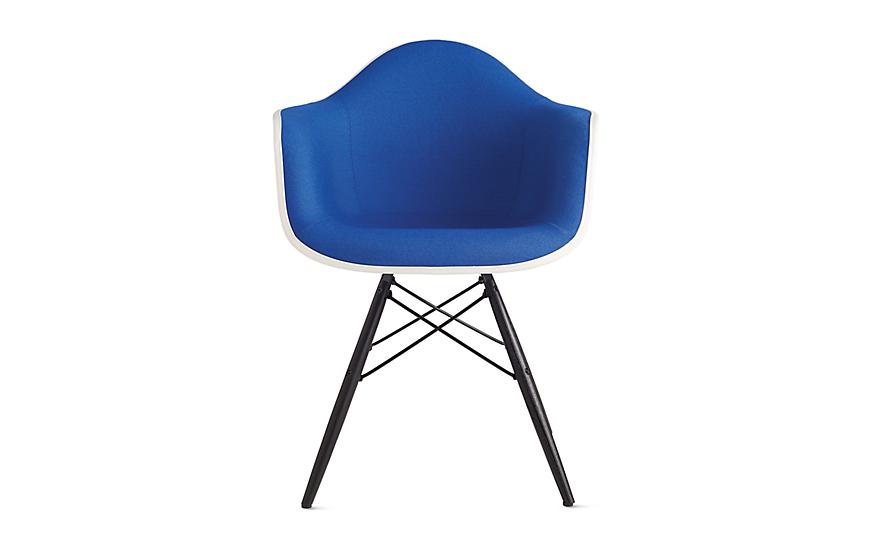 Eames® Upholstered Molded Fiberglass Dowel-Leg Armchair (DFAW)