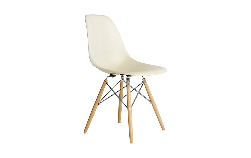 eames molded fiberglass side chair dowel base herman miller