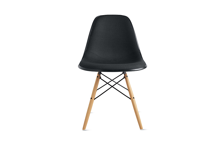 Eames® Molded Fiberglass Upholstered Dowel Leg Side Chair (DFSW)