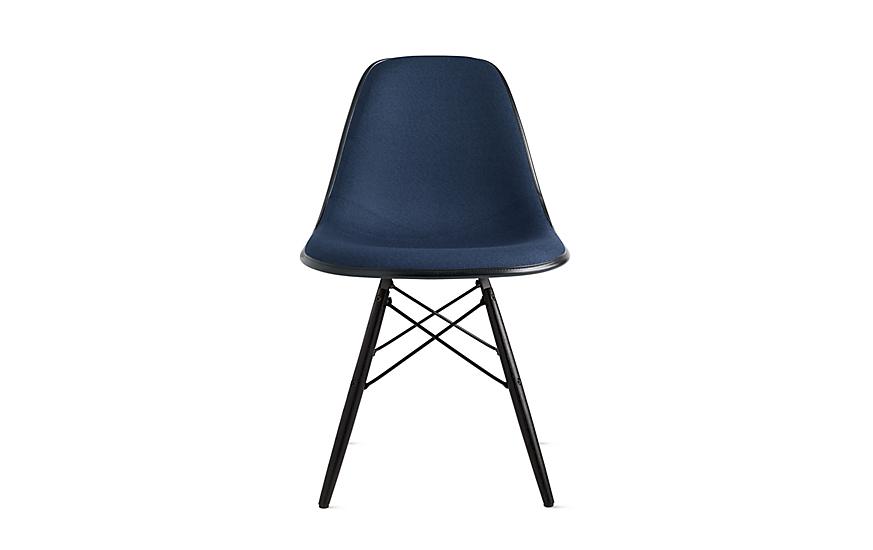 Eames® Molded Fiberglass Upholstered Dowel-Leg Side Chair (DFSW)