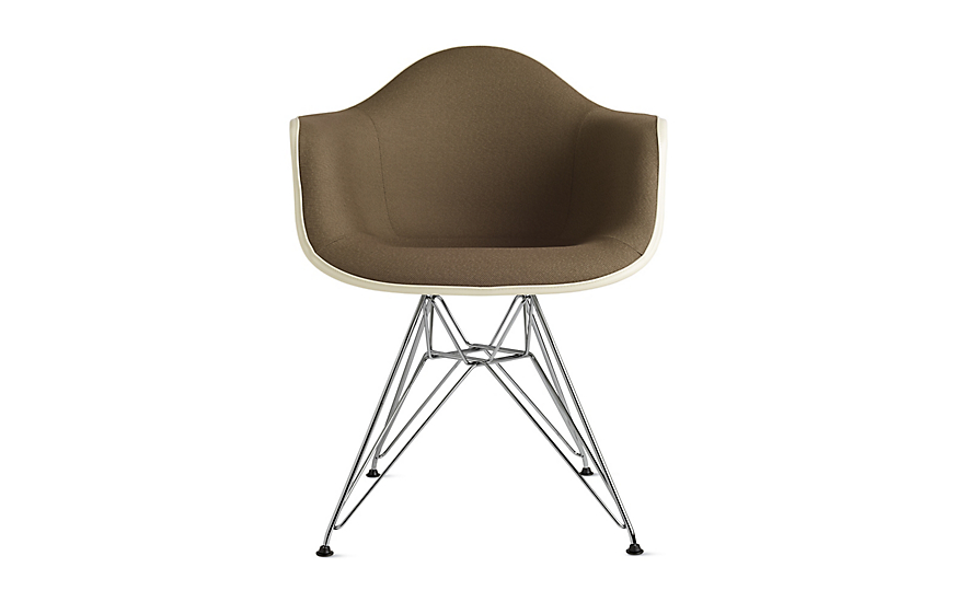 Ordinaire Eames® Upholstered Molded Fiberglass Wire Base Armchair (DFAR)