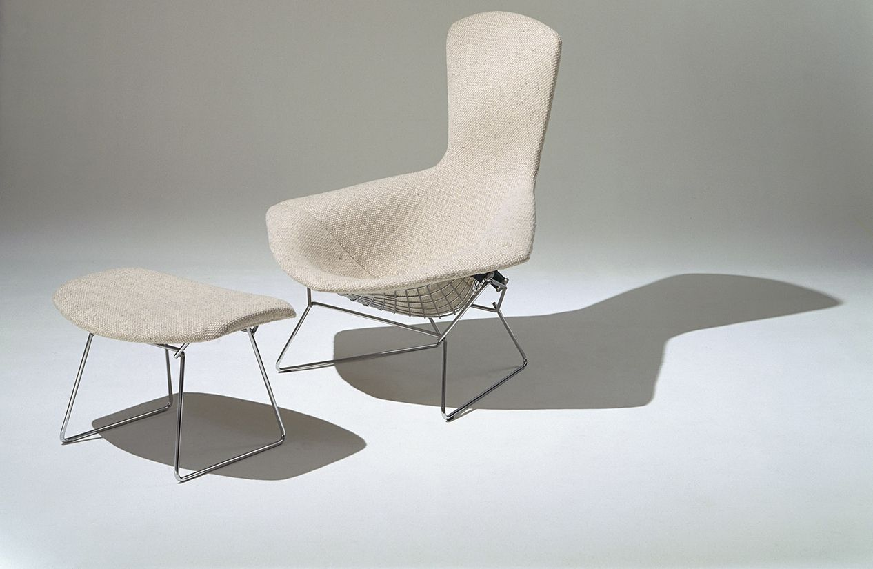 bertoia bird chair with full cover in classic bouclé  design  - bertoia bird chair with full cover in classic bouclé