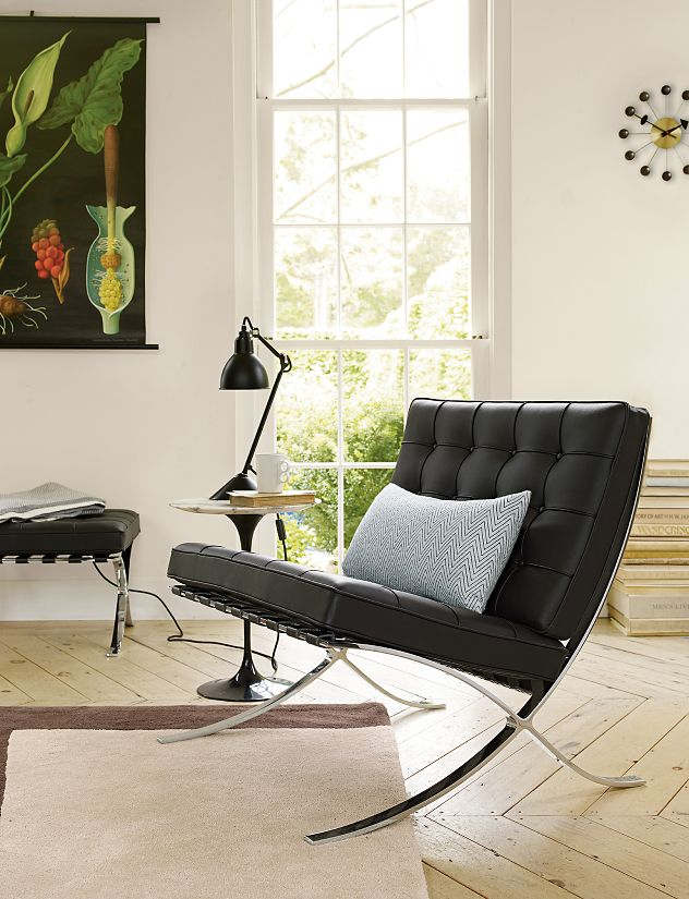 Barcelona stool design within reach for Barcelona chair living room ideas