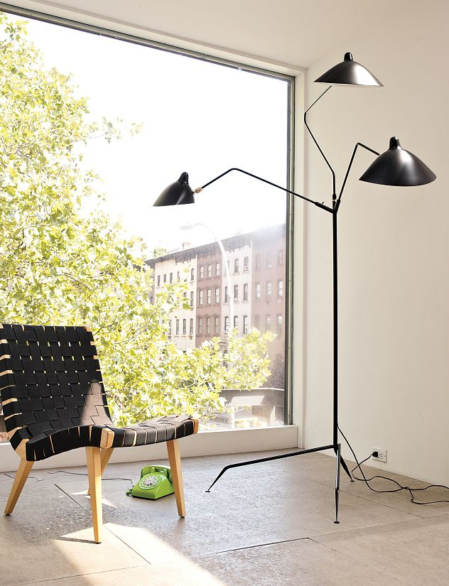 serge mouille three arm floor lamp design within reach. Black Bedroom Furniture Sets. Home Design Ideas