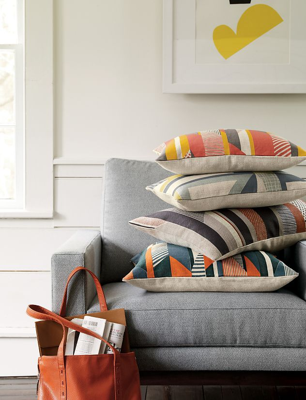 Textured Stripe Pillow, Orange