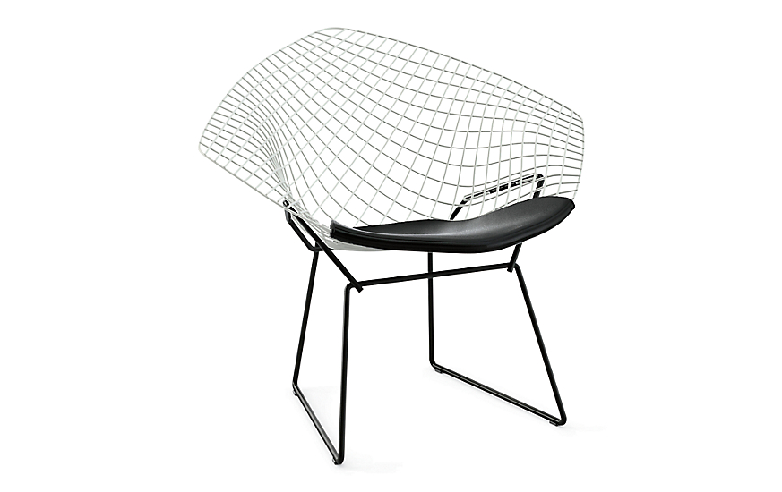 bertoia two tone diamond lounge chair with seat pad. Black Bedroom Furniture Sets. Home Design Ideas
