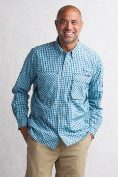 Air Strip Micro Plaid L/S, Navy, medium