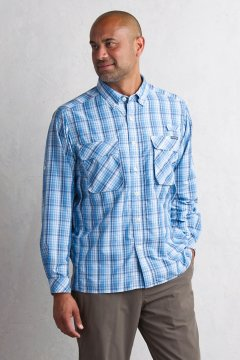 Air Strip Macro Plaid L/S, Deep Water, medium