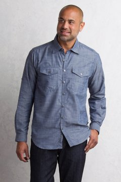Sol Cool Chambray L/S, Indigo, medium