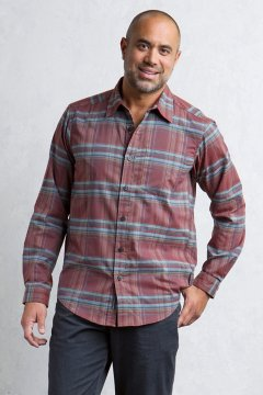 Kensington Plaid L/S, Dk Brick, medium