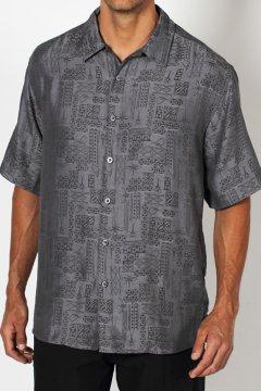 Pisco Jacquard Short-Sleeve Shirt, Black, medium