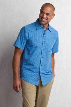 Salida Plaid Shirt S/S, Deep Water, medium