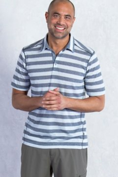 Sol Cool Jacquard Stripe Polo S/S, Dk Pebble, medium